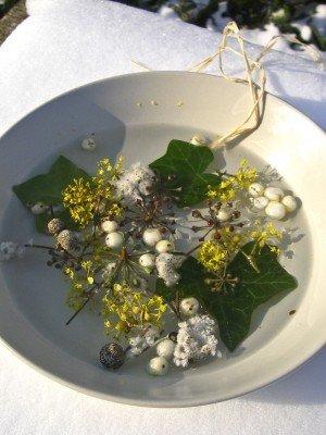 Ein Suppenteller mit Naturmaterialien und Wasser