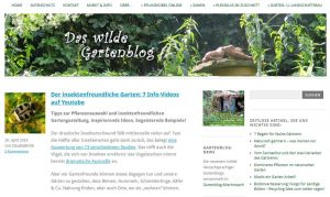 Typischer Gartenblog Aufbau mit Header, Contentdpalte und Seitenleisten
