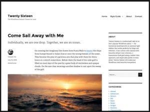 Das WordPress-Template Twentysixteen mit großen Scjriften und viel 'Weißraum