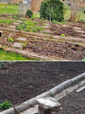 Bild oben ungepflegtes Beet, Bild unten glatter, unkrautfreier Gartenboden nach der Bodenbearbeitung mit der Elektro Bodenhacke