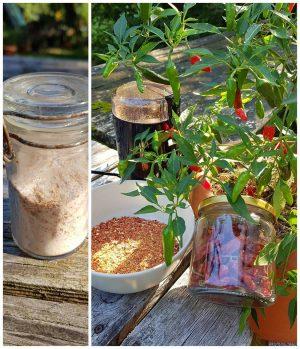Frische, trockene und gemahlene Chilischoten
