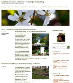 Screenshot eines Gartenblogs: Der Gemüsegarten-Blog